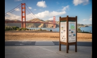 The signage program at the Golden Gate National Parks, developed by Hunt Design, incorporates a kit of parts that allows more or less information to be displayed depending on the location.