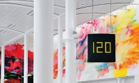 Toronto Pearson International Airport: A font made up of dots is used throughout the airport for changing information on LCD monitors.