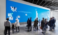 In the Inspiration Gallery, guests express their views of what liberty means to them by adding their self-portrait and collage of inspirational images to the ever-growing Becoming Liberty digital mural. (Keena Photo)