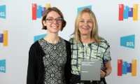 Sarah Miorelli with Paula Scher at the 2019 Annual Conference in Austin, TX