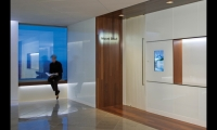 In natural gas company EnCana's Denver learning and recruitment center, Gensler met multiple programming and functional requirements using digital displays and tactile signage integrated into the glass wall.