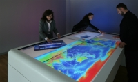 For Vodafone, Sensing Places developed a collaborative multi-touch table that allows users to create and share drawings, annotate documents, and watch reference videos.