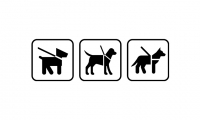 """Left to right: NPS """"Pets on Leash,"""" Des Moines International Airport """"Service Animal/Pet"""" and Ultimate Symbol """"Service Animal/Pet Relief Area"""""""