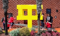 """The three dimensional logogram becomes the new symbol of the place, Chinese character """"ping"""" together with a seesaw, consistent with balance in Chinese."""