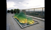 SWON Design (Montreal) evoked a Japanese rock garden in the glass sculpture for a downtown Toronto penthouse terrace.