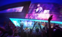 The 9,000-square-foot LED video mesh on the exterior façade can bring indoor events to the exterior event spaces.