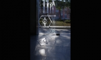 The graphics appear on walls, signs, glass, and other architectural elements.