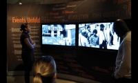 An exhibit devoted to the Newark, New Jersey, race riots supplements static exhibition elements with a video triptych that combines video footage, still images, moving texts, and sounds and music from the era. (Design: KPC Design. Fabrication: ExPlus)