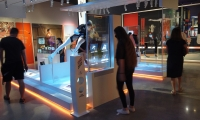 ...key artifacts are placed behind transparent LED screens, turning each item into an interactive exploration.
