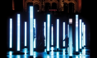 Volume, a 2006 installation at London's Victoria and Albert Museum, is a series of light and sound columns that respond to human movement. (Design: United Visual Artists, Robert Del Naja, and Neil Davidge)