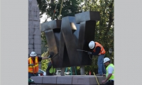 Installation of the W onto the base, which was designed by the university staff.