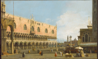Canaletto. View of Piazza San Marco, Venice, c. 1740 / 46, oil on canvas, 50.2 x 82.3 cm (19-3/4 x 32-3/8 in), Samuel H. Kress Collection, Allentown Art Museum, accessed January 06, 2021, https://www.kressfoundation.org/kress-collection/artwork/182ca2b1fc