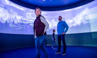 In social media mode, visitors can input their thoughts and memories of games and it will display them on the curved projection-mapped wall using #VikingsMemories.