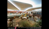 The new Virgin terminal includes a 26,000-sq.-ft. luxury lounge. Designed by Softroom Architects, it includes a bar, restaurant, and spa with sauna and hydrotherapy pool. (Photo: Softroom Architects)
