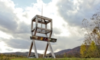 At West Point Foundry Preserve, the site of a former armaments factory, C&G Partners recreated the 32-ft.-high gun platform that was used to test cannons by shooting toward a nearby canyon.