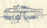 "This is an example of how an initial sketch can help sell the idea. I did this based on the owner saying, ""I want a restaurant that serves hamburgers and looks like an Airstream trailer."""