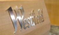 Detail of Westfield logo applied to desk.