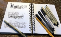 Favorite tools: Pencil, Pigma Micron pens, Faber Castell markers, spiral-bound book