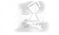 A lobby sketch to communicate volume and mass.