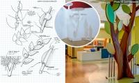 Evolution from sketch to paper model to installation. (Cincinnati Children's Liberty Campus)