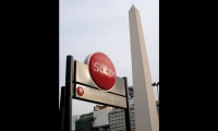 The subway entrances are highly visible, even in a city of landmarks.