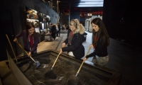 By using small shovels to dig through a sandbox meant to simulate volcanic ash, visitors get a sense of the massive clean-up required after the eruption.