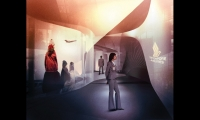 Designed but not built for Airbus' Toulouse, France, headquarters, this immersive environment was to feaure Airbus' future technologies through digital storytelling and RFID technology. (Design: Imaginary Forces, UN Studio)