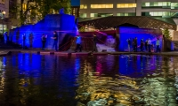 Lovejoy Fountain – luminescent string, audio soundscape and projected colored LED lighting that can be controlled by participants create an interactive experience.