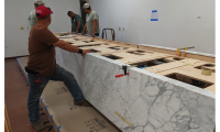 The logistics of every step were something that had to be very carefully considered because of the enormous weight involved and the fragility of natural marble.