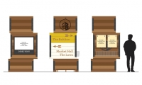 The EGD program designed by Design360 is inspired by the site's rich history. Modular retail pylons recall stacked shipping crates. Reinforced with raw steel, they will accommodate directionals, tenant directories, and promotional information.