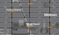 Map detail. A variety of information is layered into the map, including icons of landmarks. Subways are indicated by tabs that resemble station signs.