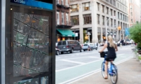 The maps are installed on the new CitiBike bike-sharing kiosks.