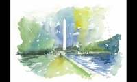 Wayne Hunt, Hunt Design, painted this watercolor sketch of the National Mall.