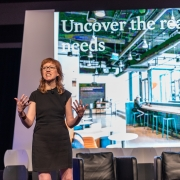 Erin Hauber and from USAA speaking at the 2019 SEGD Conference Experience in Austin, TX.