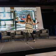 Erin Hauber and Meriah Garrett from USAA speaking at the 2019 SEGD Conference Experience in Austin, TX.
