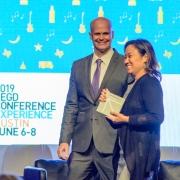 Cynthia Damar-Schnobb receiving the 2019 SEGD Chapter Chair award.