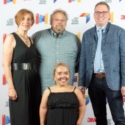Debbie Shaw, Peter Andrusko, Margaret Drew, and Bryan Meszaros at the 2019 SEGD Conference Experience in Austin, TX.