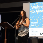 Local Austin signer songwriter, Wendy Colonna, surprises Conference attendees with a special song.