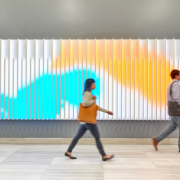 As people walk through the lobby of 44 Montgomery Street in San Francisco they become digital paintbrushes, trailing a colored path across the display. (Photo: Caleb Tkach)