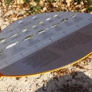 Lower leaves contain integrated information about the lake's fish and the legends of Aluksne. A ruler was integrated to measure the size of the fish catch. (image: metal punched fish finder with ruler)