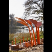 The environmentally friendly solution helps the town to manage the flow of visitors and provides the user-friendly infrastructure by the lake. (image: orange fishing pavilion)