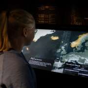 This installation gives a good overview of different foreign rulers over Iceland and how its people gradually gained back sovereignty with a full independence in 1944. (image: person using touchscreen maps)
