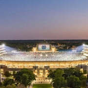 Notre Dame Stadium on a game day (September 30, 2017). (image: stadium overhead by night)