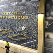Three-story mural graphics found at each of the four stairwells. (image: mural of stadium)