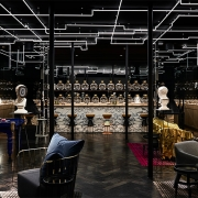 Flaggerdoot bar at the hotels entry marks the start of the narrative and the first stage in the process of Alchemy – filtration. (image: chic bar space)