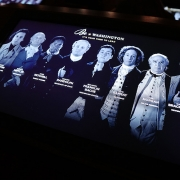 The selection of advisors visitors may listen to at each station. (image: screen with historical figures)