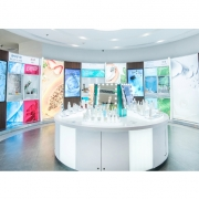 This leads into the ageLOC and Nu Skin product areas—two of the company's skincare lines—equipped with 11 interactive wall screens and three tablets extolling the benefits of each product in manageable depth.