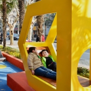 "The logogram becomes the new symbol of the public space, ""D"" creates relax seating area."