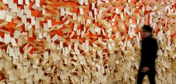 """""""Kindertransport—Rescuing Children on the Brink of War,"""" Through May (image: wall of paper tags)"""