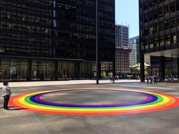 Mactac's StreetTRAX at Toronto Pride (image: rainbow graphic on street)